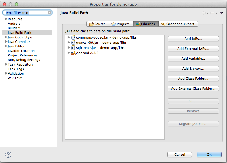 Include Jar into Eclipse project